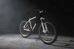 Mountain bike in bianco e nero alla luce volumetrica rende 3D Fotografia Stock