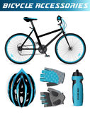 Mountain bike with bicycle accessories. Helmet. Mountain bike and bicycle accessories. Helmet, gloves, water bottle. Black and blue style.  on white Royalty Free Stock Images