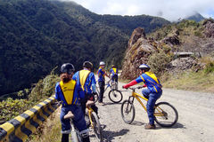 Mountain bike biking death road. Death road Bolivia La Paz stock image