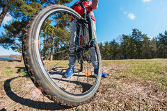 Mountain Bike and blue sky background Royalty Free Stock Photography