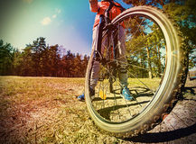 Mountain Bike and blue sky background Royalty Free Stock Image