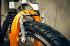 Mountain bike brakes. And front shocks Stock Image