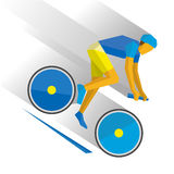 Mountain bike. Cartoon cyclist down the mountain. Royalty Free Stock Images