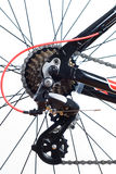 Mountain bike cassette. On the wheel with chain of close up stock photos