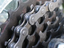 Mountain bike chain. Zoom on the chian of a mountain bike Royalty Free Stock Image