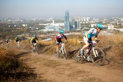 Mountain bike competition in megapolis Stock Image