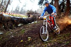 Mountain bike competitions at Halloween Stock Photography