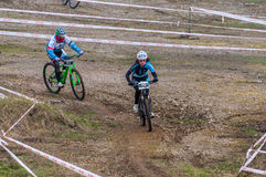 Mountain bike contest. On unfinished construction. First edition of Urban Trail Cross Country Short Circuit - XCC inside of Romexpo, Bucharest, Romania Royalty Free Stock Photography