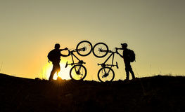 Mountain bike and crazy team for sport. Mountain bike and crazy rider.sunrise and biker.Healthy and fresh day.Happy and relaxing man.Dream ve freestyle life Stock Photos