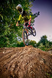 Mountain bike cyclist doing stoppie, ridden on the front wheel royalty free stock images