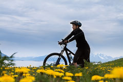 Mountain bike cyclist, Norway Royalty Free Stock Images