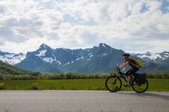 Mountain bike cyclist, Norway Royalty Free Stock Photography
