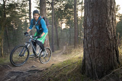 Mountain bike cyclist on an offroad trail Stock Photo