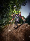 Mountain bike cyclist ridden on the front wheel Stock Image