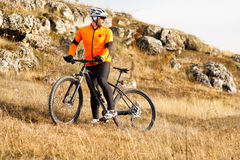 Mountain Bike cyclist riding Meadow track Stock Images