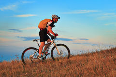 Mountain Bike cyclist riding outdoor. Mountain Bike cyclist riding single track outdoor stock images