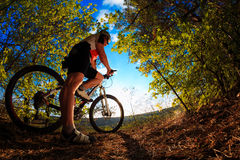 Mountain Bike cyclist riding outdoor Royalty Free Stock Image