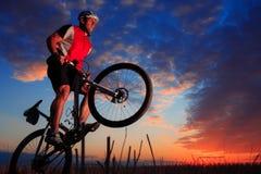Mountain Bike cyclist riding outdoor Stock Photos