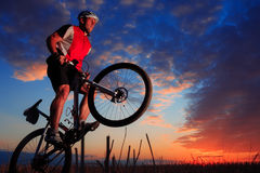 Mountain Bike cyclist riding outdoor Stock Photography