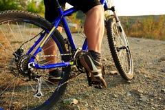 Mountain Bike cyclist riding outdoor. Mountain Bike cyclist riding single track outdoor stock photo