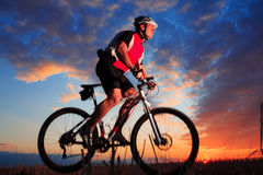 Mountain Bike cyclist riding outdoor Stock Photo