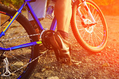Mountain Bike cyclist riding outdoor. Mountain Bike cyclist riding single track outdoor stock photography