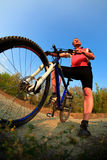 Mountain Bike cyclist riding outdoor Royalty Free Stock Images