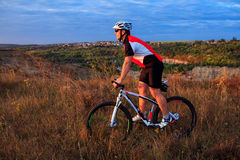 Mountain Bike cyclist riding outdoor Royalty Free Stock Photos