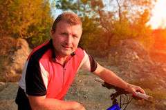 Mountain Bike cyclist riding outdoor Royalty Free Stock Photo