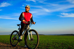 Mountain Bike cyclist riding outdoor Stock Photography