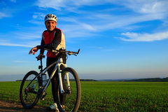 Mountain Bike cyclist riding outdoor. Mountain Bike cyclist riding single track outdoor Royalty Free Stock Images