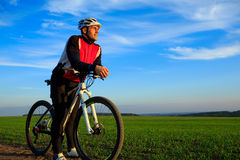 Mountain Bike cyclist riding outdoor. Mountain Bike cyclist riding single track outdoor Stock Photography