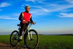 Mountain Bike cyclist riding outdoor. Mountain Bike cyclist riding single track outdoor Stock Photos