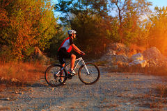 Mountain Bike cyclist riding outdoor Stock Photos
