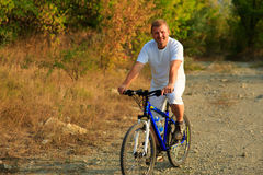 Mountain Bike cyclist riding outdoor Stock Image