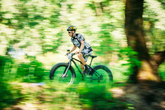 Mountain Bike cyclist riding track on fat tire bike at sunny day Stock Photo