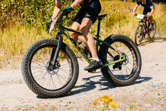 Mountain Bike cyclist riding track at sunny day, healthy lifesty Stock Images