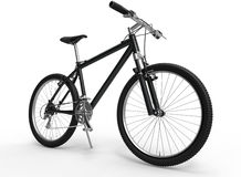 Mountain bike. 3D rendered illustration of a black mountain bike. The bike is isolated on a white background with shadows Royalty Free Stock Photography