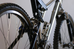 Mountain bike detail 1. Partial view of a classic mountain bike from above the rear wheel Stock Photography