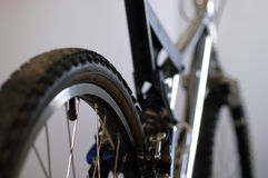 Mountain bike detail 2. Partial view of a classic mountain bike from above the rear wheel royalty free stock image