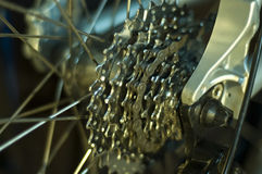 Mountain bike detail. Mountain bike rear derailleur detail stock photos