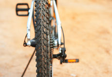 Mountain bike. Dirty protector of a bicycle Royalty Free Stock Photography