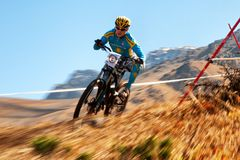 Mountain bike downhill Stock Photo