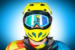 Mountain bike freeride downhill rider portrait Stock Photo