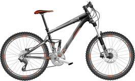 Mountain bike full-suspension. Illustration of full-suspension mountain bike, with design Stock Photography