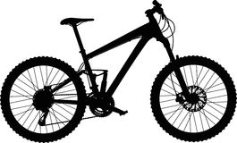 Mountain bike full-suspension. Silhouette of full-suspension mountain bike Stock Photography