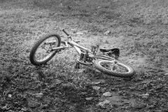 Mountain bike on the ground, image black and white Stock Photos
