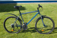 Mountain bike (hard-tail) on lawn. Mountain bike (hard-tail) on green lawn Stock Images