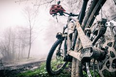 Mountain bike and helmet in autumn woods, dirty bicycle Royalty Free Stock Image