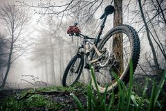Mountain bike and helmet in autumn woods Royalty Free Stock Photo